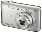 DC Nikon Coolpix S3700 Silver 20.1 MPx Zoom 8x (+case + 8GB SD card)