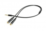 Audio Adapter Cable 0.2m Gembird CCA-417M 3.5mm 4-pin plug to 3.5mm stereo + microphone sockets Metal