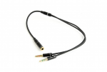Audio Adapter Cable 0.2m Gembird CCA-418M 3.5mm 4-pin socket to 2 x 3.5mm stereo plug Metal
